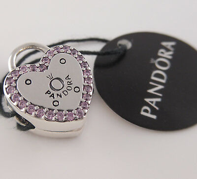 Authentic PANDORA Logo LOCK YOUR PROMISE Padlock HEART Clip 796556FPC NEW w TAG