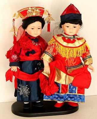 "19"" Vintage Pair Boy and Girl Chinese Asian Dolls in Traditional Dress"