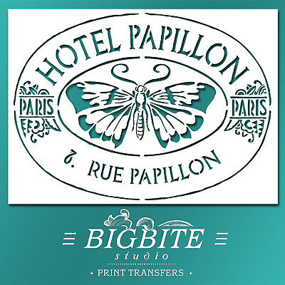 Shabby Chic STENCIL: Butterfly Hotel Papillon Advert (DIY Furniture Print) #007