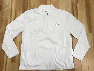 NWT Mens CALLAWAY Opti-Therm Opti-Shield White 1/4 Zip Golf Pullover Jacket XL
