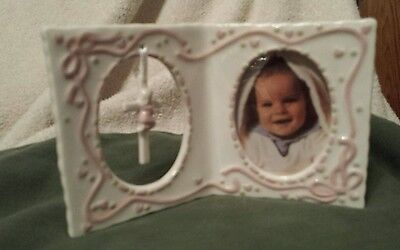 Ceramic Baby Girl Picture  Frame with Cross