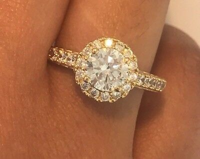 1.5 Ct Diamond Engagement Ring 14K Solid Yellow Gold Round Halo Wedding Bridal