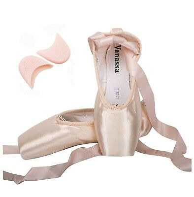 Wendy Wu Girls Womens Dance Shoe Pink Ballet Pointe Shoes With Toe Pads 1