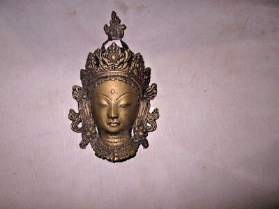 Early 20th century cast brass Chinese plaque of Guanyin