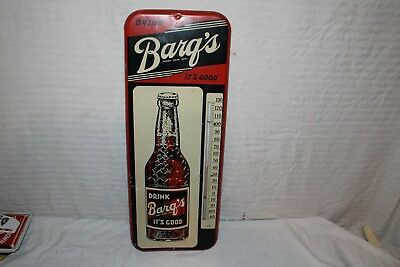 """Vintage 1958 Barq's Root Beer Soda Pop Bottle 26"""" Metal Thermometer Sign~Works"""