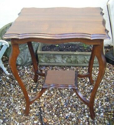 Antique Edwardian Occasional Hall / Side / Lamp Table - Scalloped Edge with Tier