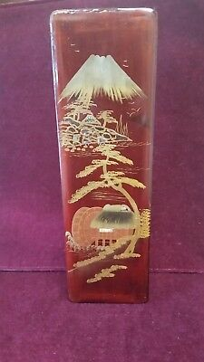 Antique? Vintage red Wood Lacquer Asian Japanese landscape aloy inlay wooden box