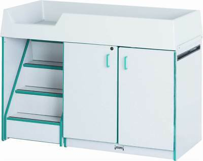 Rainbow Accents Left Diaper Changing Table w Stairs in Teal [ID 297530]