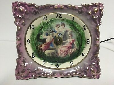 Antique/Vintage Ceramic Wall Clock w/Image of Roman Era Women **UNIQUE**