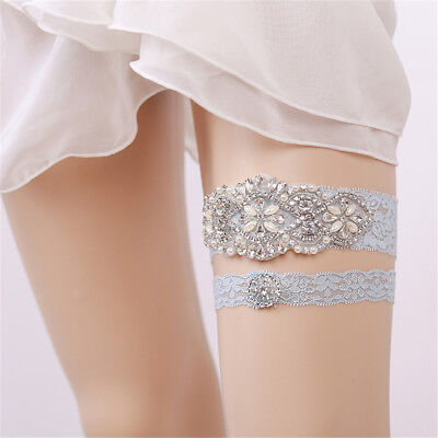 Blue Wedding Bridal Garter Bride Set Lace Rhinestone Jewel Belt Leg Ring AU