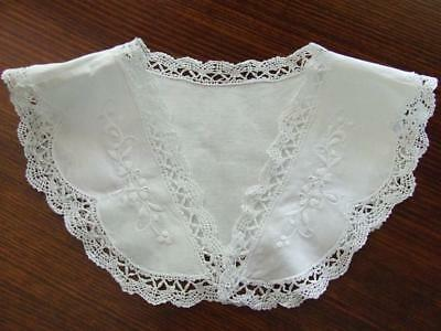 Vintage White Hand Embroidered Detachable Lady's Collar with Cluny Lace Trim