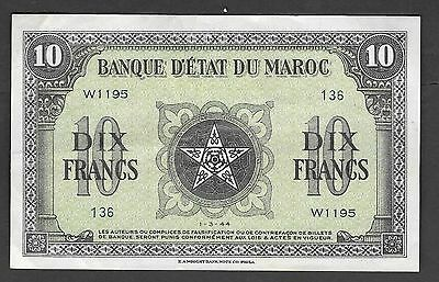 Morocco 10 Francs 1944 Circulated Banknote