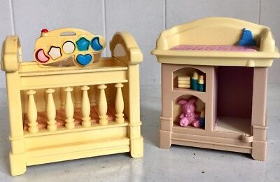 Fisher Price Loving Family Doll House Furniture Bedroom Baby Cot & Changer 3 Pce