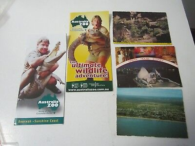 3 x Postcards, Sydney, Hervey Bay, Carnarvon + 2 x Australia Zoo Pamphlets