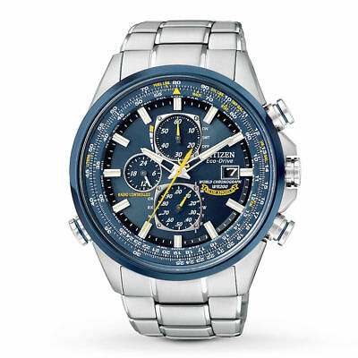Mens Citizen Eco-Drive Blue Angels Stainless Chronograph World Watch AT8020-54L
