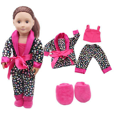 18'' inch 5pcs Clothes Shoes for American Girl Our Generation Dolls Pajamas Set