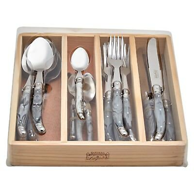 Chateau Laguiole French Inspired 24pc Cutlery Set with Marble White ABS Handles