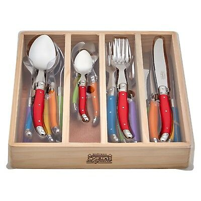 24pc Chateau Laguiole French Inspired Cutlery Set Knife Fork Spoon Multicolour