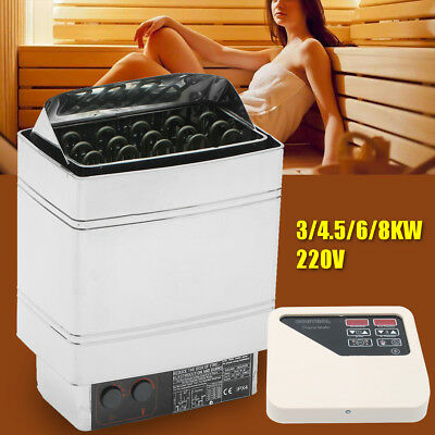 220V Sauna Spa Heater Stove Wet & Dry Stainless Steel External Digital Control