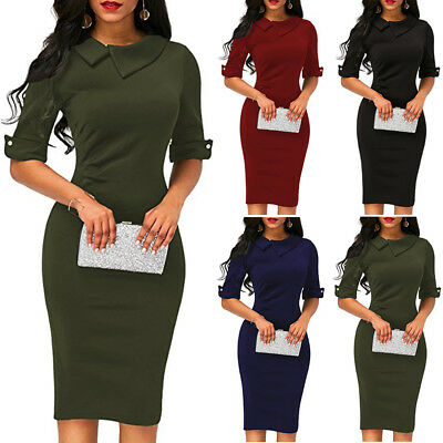 US STOCK Sexy Women Bandage Bodycon Evening Party Cocktai Work Office Midi Dress