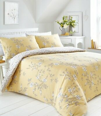 Double Bed Duvet Cover Set Yasmina Floral Ochre Yellow Grey Reversible