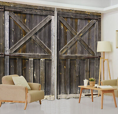 3D Rustic Vintage Wooden Door Printing Window Curtains Blockout Drapes Fabric