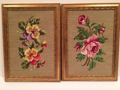 Set Matching Needlepoint Flowers Floral Victorian Style Gold Frames Roses 11x15