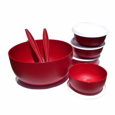 Tupperware NEW Salad Bowl Servers 4 Small Bowls set Red White Instant seals