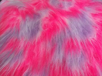 LONG Pile Fun Faux Fur Fabric Material LILAC/WHITE/CERISE MIX
