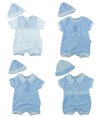 Baby Boys Traditional Spanish Short Romper & Hat Outfit Newborn 0-3 Months