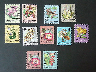 Guyana  flowers postally used - see photo - includes overprint values op orchid
