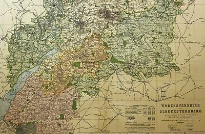 1898 Original County Map Worcestershire Gloucestershire South Stroud Cheltenham