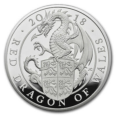 2018 GB Proof 10 oz Silver Queen's Beast Dragon (Box & COA) - SKU#158891
