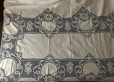 Vintage large handmade white Battenberg tape lace tablecloth w matching napkins