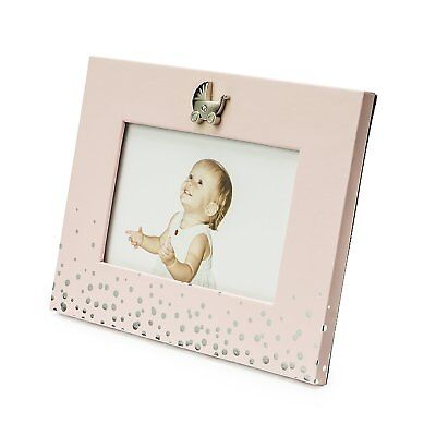 """Modali Baby Fine & Elegant Photo Frame 6x4"""" in Pink with Silver Plated Carriage"""