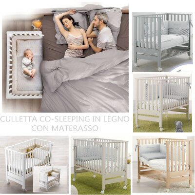 Culla Lettino Co-Sleeping In Legno Con Materasso Contact Azzurra Design