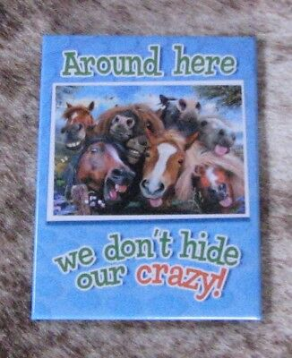 LEANIN TREE Horses Selfie Refrigerator Magnet #31485~We Don't Hide Our Crazy~