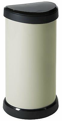 Large Ivory Kitchen Curver Deco 40L Litre Metal Effect One Touch Top Bin Bins