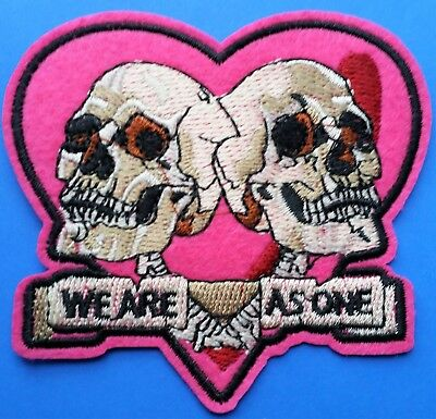 Heart Pink Skull Embroidered We Are As One Iron On Patch Goth Biker Valentine