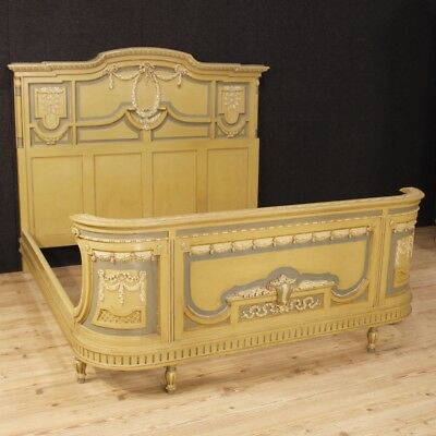Double bed lacquered furniture bedroom wood antique style Louis XVI 900 cabinet