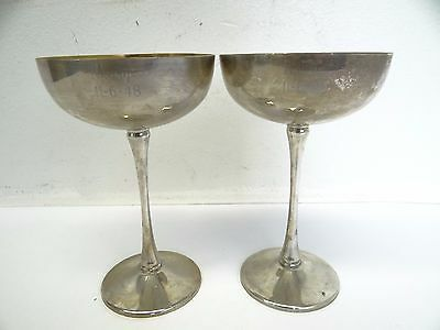 Pair Eales 1779 Silverplate Italy Silver Gold Colored Goblets Wine Glasses Cups