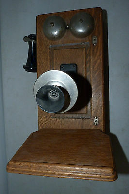 Antique Oak Wood Western Electric Wall Crank Telephone Vintage Wooden Phone