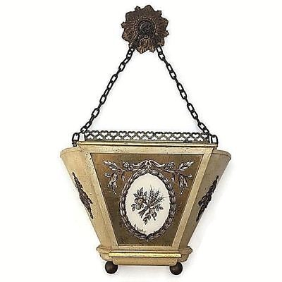 Vintage Wood Brass Painted Foiled Glass Wall Hanging Planter Box Decor