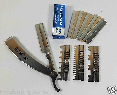 Stainless Straight Edge Barber Razor 3 Guards And 5 Personna Blades Shaving Cut