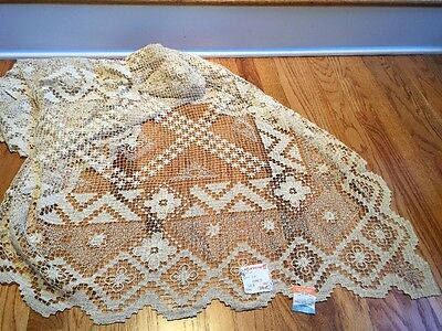 NWT VTG Handmade TUSCANY LACE Crochet Lace BEIGE Tablecloth 54 X 72 RECTANGLE