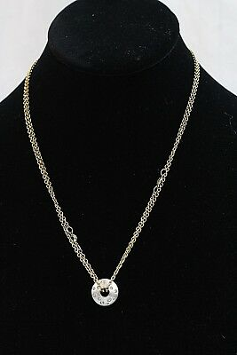SWAROVSKI Silver Tone Clear Crystal Hoop Disc Pendant Golden Chain Necklace