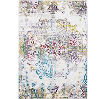 Ivory Multi-Color Transitional Area Rug Modern Distressed Faded Medallion Rug