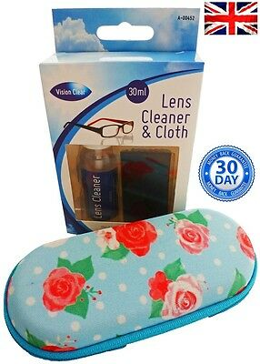 Glasses Zipped Case And Glass Cleaner Spectacle Case Micro-Fibre Cloth Spray
