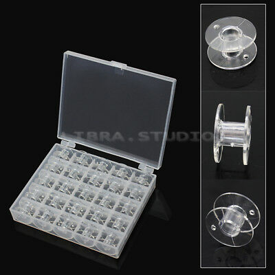 25Pcs Durable Empty Clear Plastic Bobbins Spools Sewing Machine Storage Case