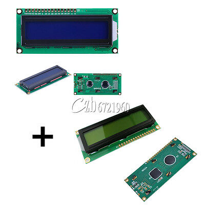 2pcs Blue + Yellow Backlight 1602 16x2 Character LCD Display Module HD44780 LCM
